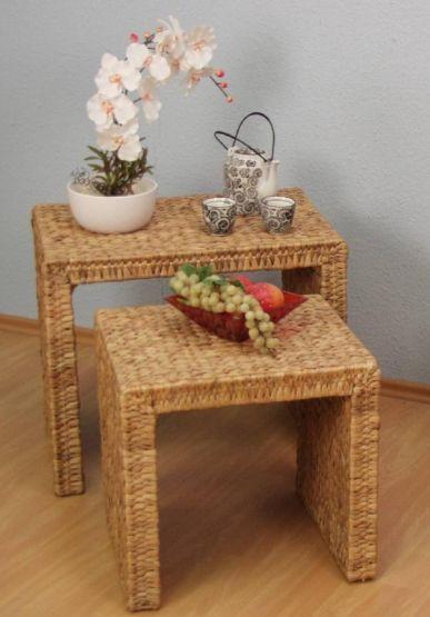 beistelltisch 2er set wasserhyazinthe. Black Bedroom Furniture Sets. Home Design Ideas