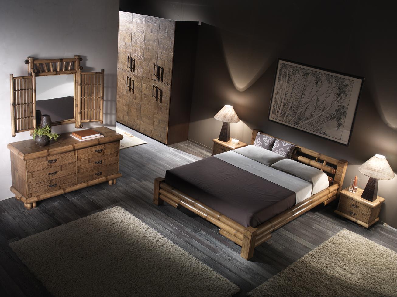 Bambusbett Fiji Rattan Korbhaus Bambus Schlafzimmer Komplett