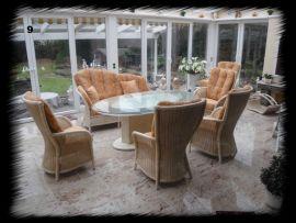 Wintergarten-Garnitur geflochten, hochwertige Sitzgruppe für Wintergarten und Wohnbereich